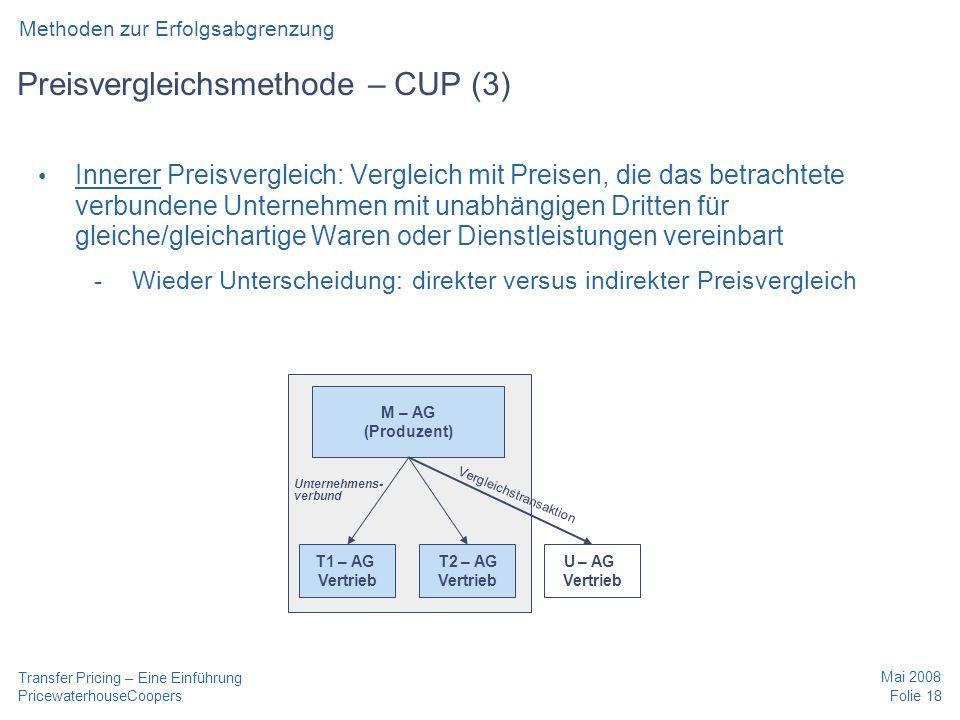 Preisvergleichsmethode – CUP (3)