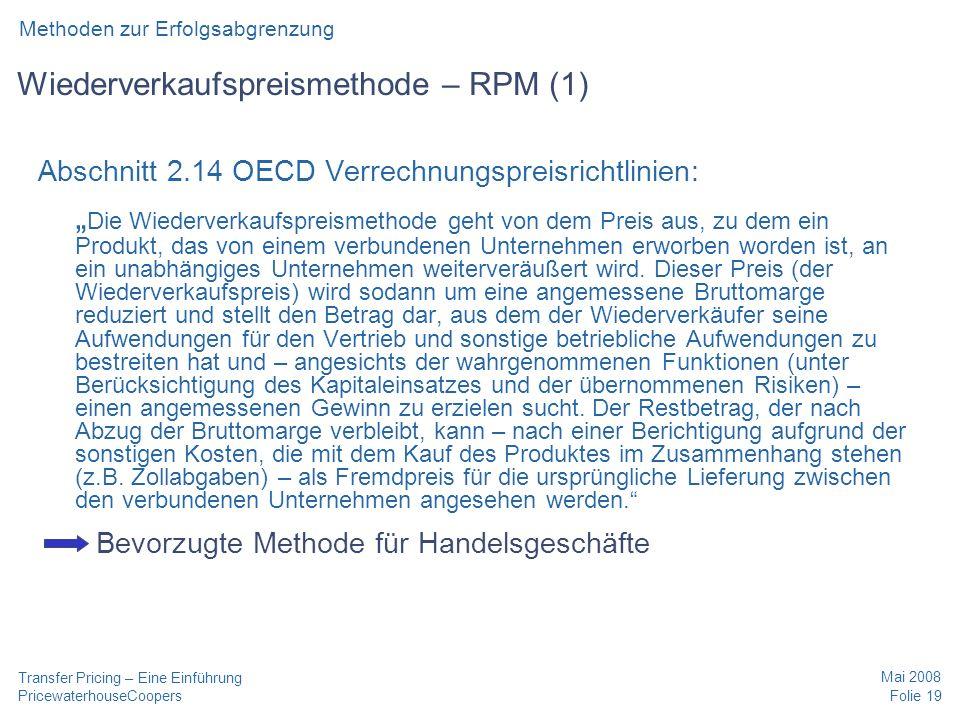 Wiederverkaufspreismethode – RPM (1)