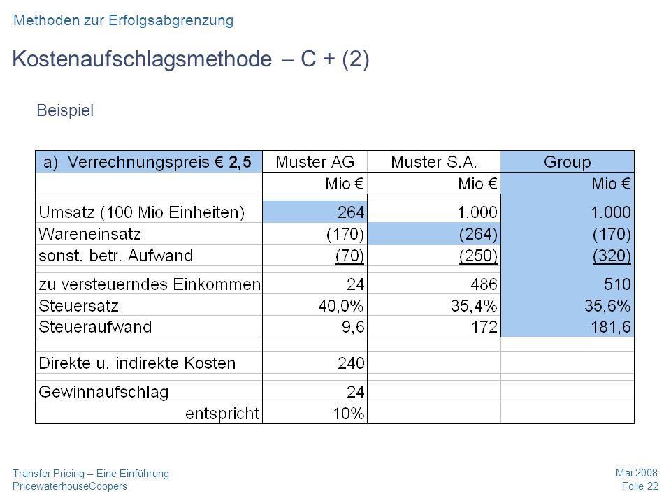 Kostenaufschlagsmethode – C + (2)