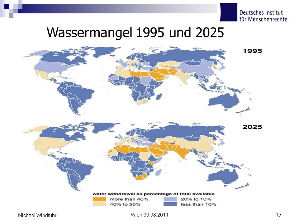 Wassermangel 1995 und 2025 Freschwaterstress 1995 und 2025 (Quelle UNEP) Michael Windfuhr.