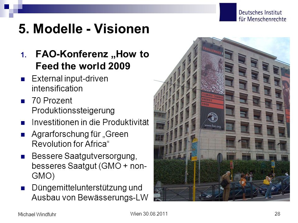 "5. Modelle - Visionen FAO-Konferenz ""How to Feed the world 2009"