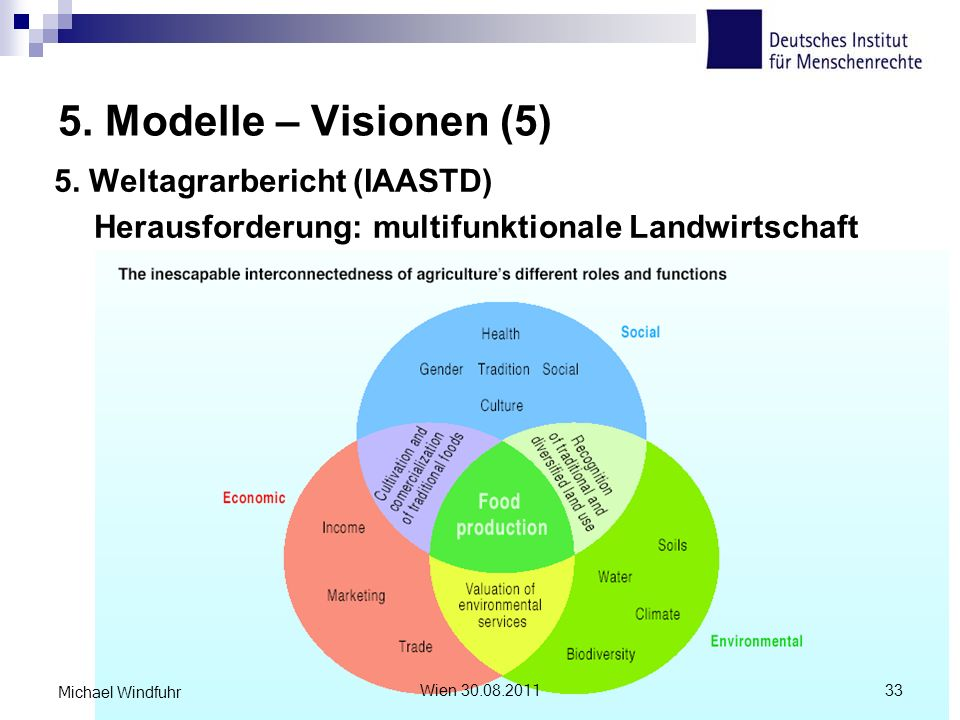 5. Modelle – Visionen (5) 5. Weltagrarbericht (IAASTD) Herausforderung: multifunktionale Landwirtschaft