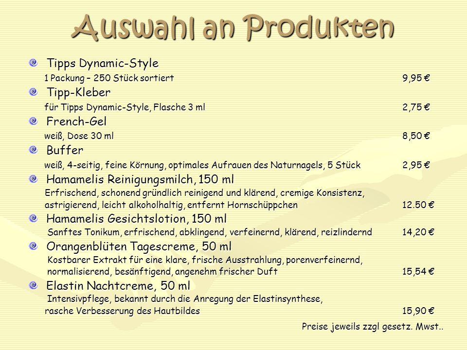 Auswahl an Produkten Tipps Dynamic-Style Tipp-Kleber French-Gel Buffer