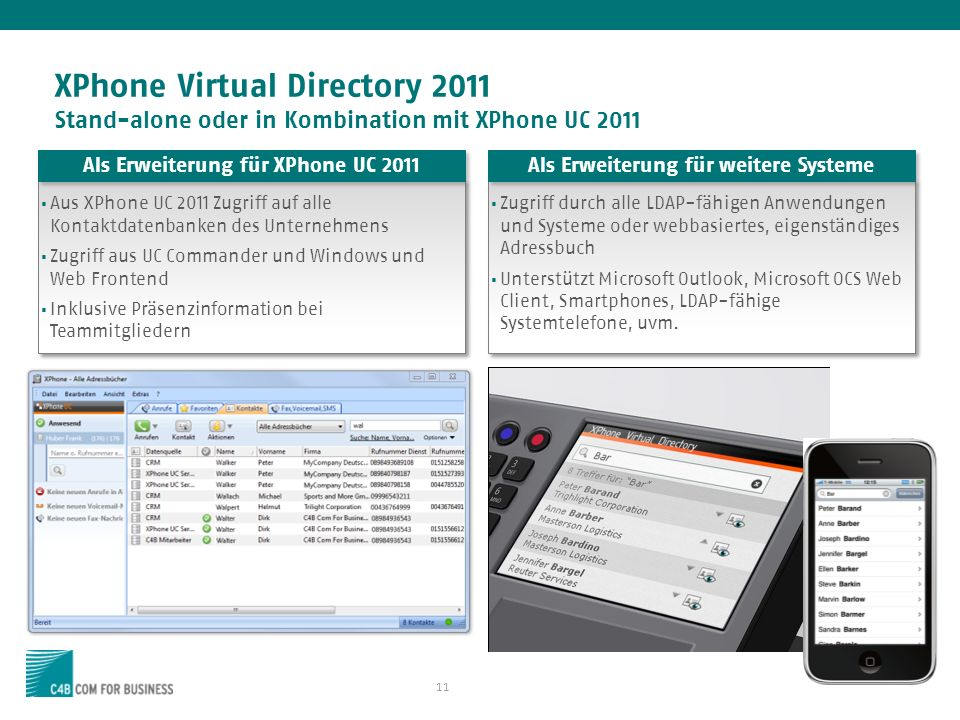Als Erweiterung für XPhone UC 2011 Als Erweiterung für weitere Systeme