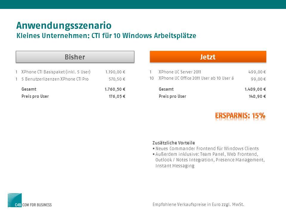 Anwendungsszenario Kleines Unternehmen: CTI für 10 Windows Arbeitsplätze