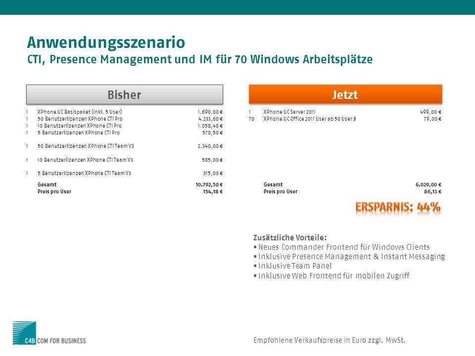 Anwendungsszenario CTI, Presence Management und IM für 70 Windows Arbeitsplätze