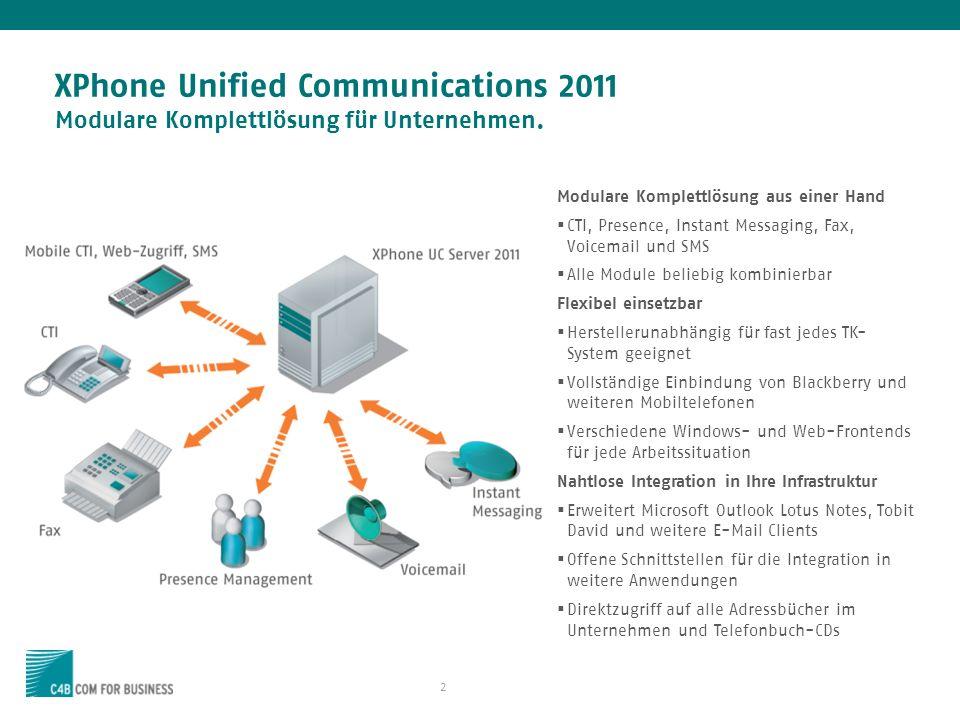 XPhone Unified Communications 2011 Modulare Komplettlösung für Unternehmen.