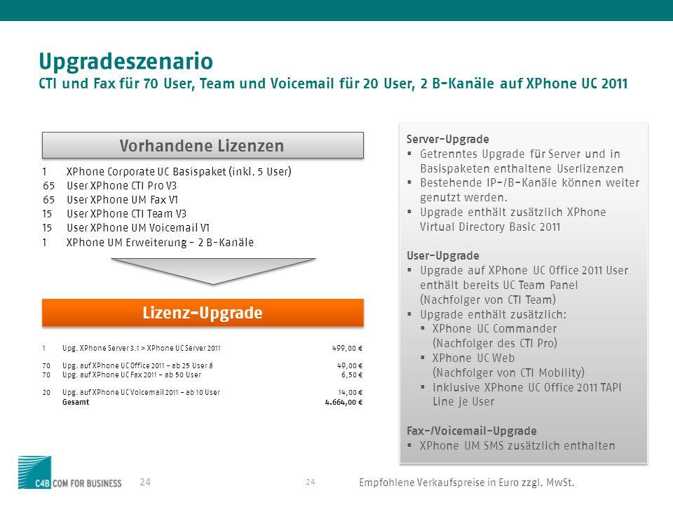 Upgradeszenario CTI und Fax für 70 User, Team und Voicemail für 20 User, 2 B-Kanäle auf XPhone UC 2011
