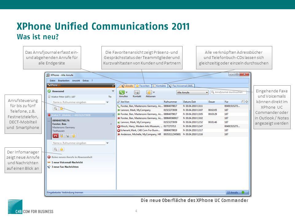 XPhone Unified Communications 2011 Was ist neu