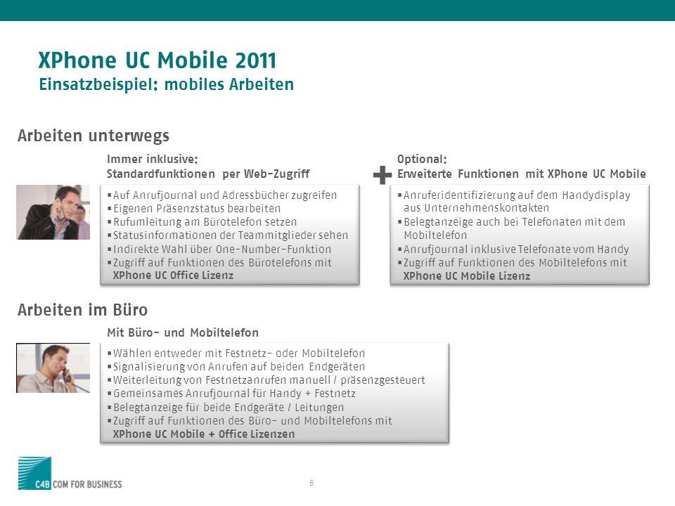 XPhone UC Mobile 2011 Einsatzbeispiel: mobiles Arbeiten
