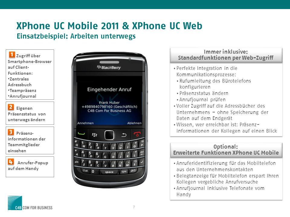 XPhone UC Mobile 2011 & XPhone UC Web Einsatzbeispiel: Arbeiten unterwegs