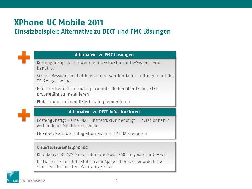 Alternative zu FMC Lösungen Alternative zu DECT Infrastrukturen