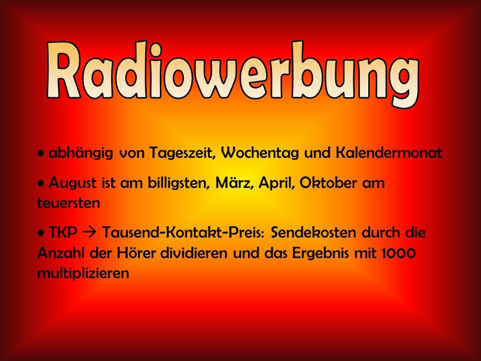 Radiowerbung abhängig von Tageszeit, Wochentag und Kalendermonat
