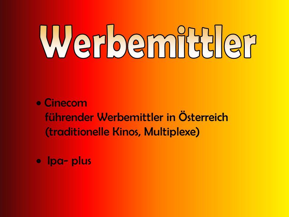 Werbemittler Cinecom führender Werbemittler in Österreich (traditionelle Kinos, Multiplexe) Ipa- plus.