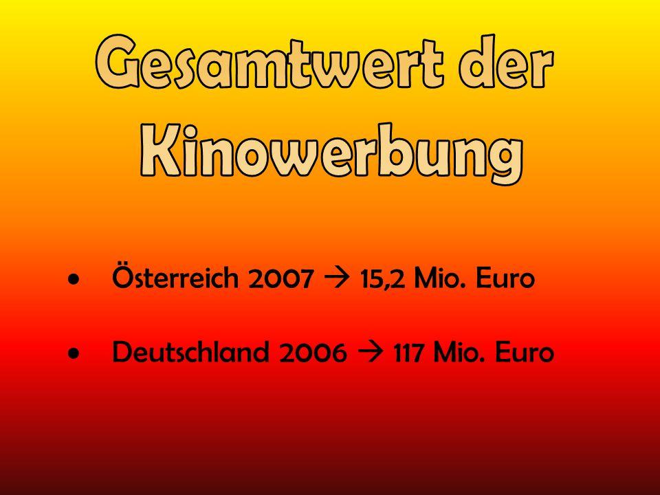 Gesamtwert der Kinowerbung Österreich 2007  15,2 Mio. Euro