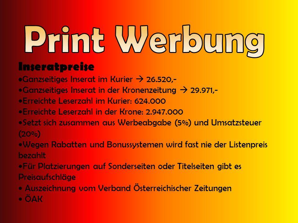 Print Werbung Inseratpreise Ganzseitiges Inserat im Kurier  26.520,-