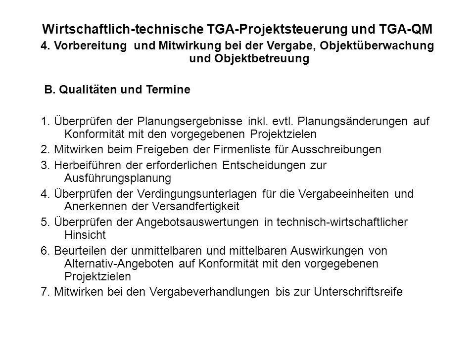 Wirtschaftlich-technische TGA-Projektsteuerung und TGA-QM