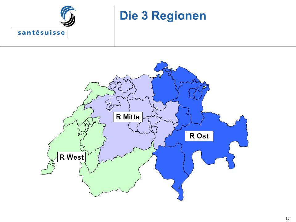 Die 3 Regionen R Mitte R West R Ost