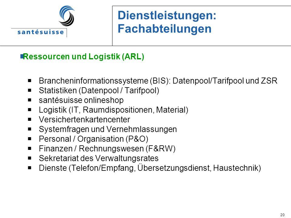 Dienstleistungen: Fachabteilungen
