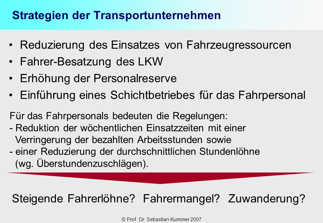 Strategien der Transportunternehmen