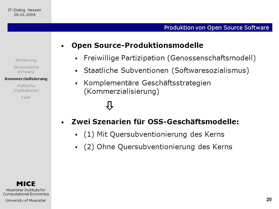 Produktion von Open Source Software