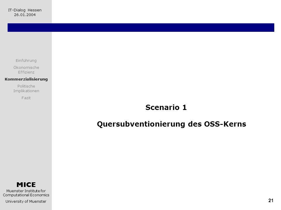Scenario 1 Quersubventionierung des OSS-Kerns