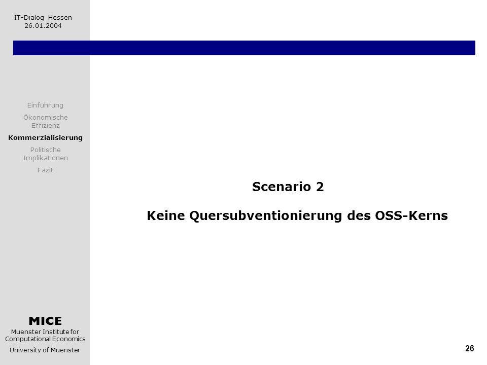 Scenario 2 Keine Quersubventionierung des OSS-Kerns