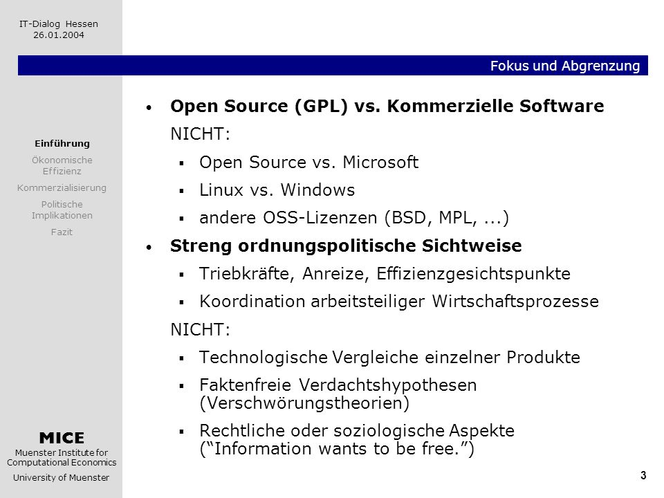 Open Source (GPL) vs. Kommerzielle Software NICHT: