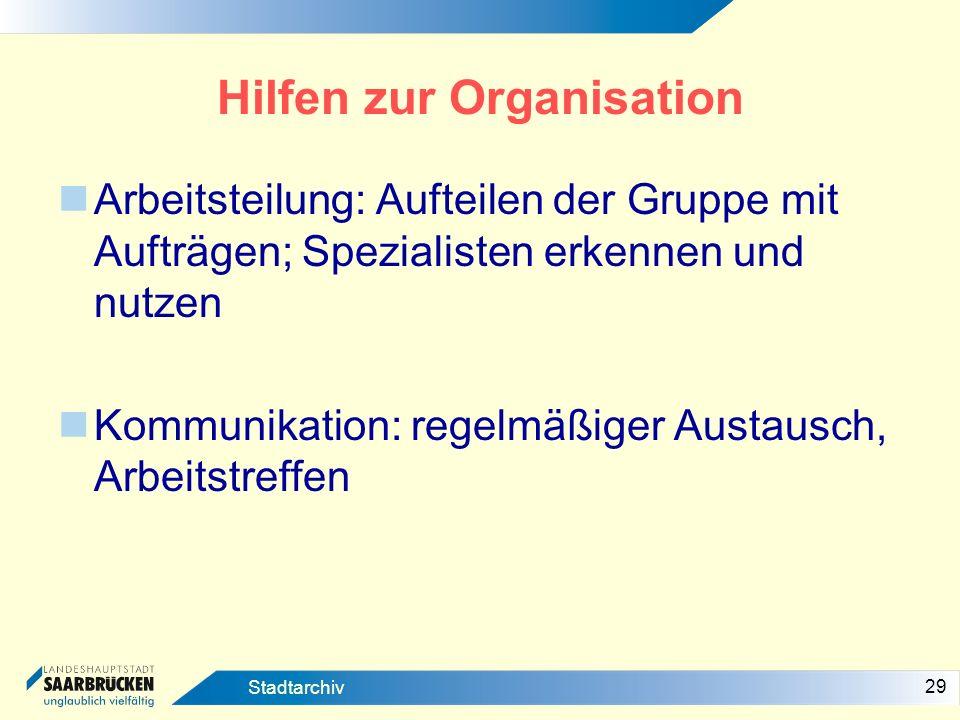 Hilfen zur Organisation