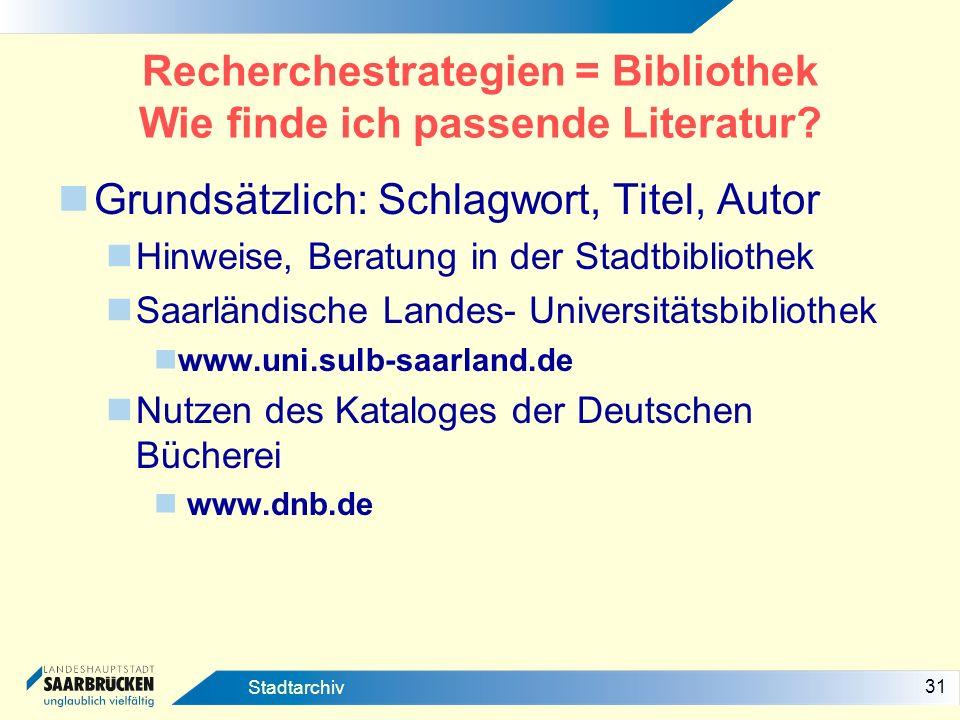 Recherchestrategien = Bibliothek Wie finde ich passende Literatur