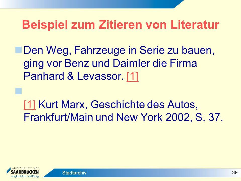Beispiel zum Zitieren von Literatur