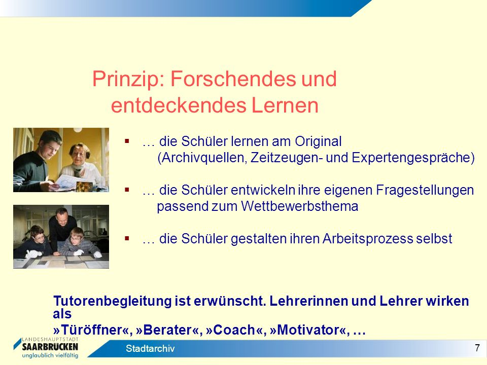 Prinzip: Forschendes und entdeckendes Lernen
