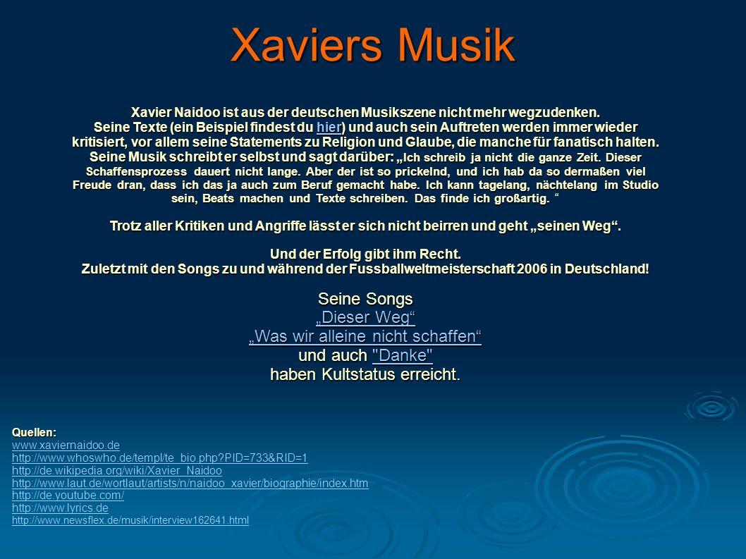 "Xaviers Musik Seine Songs ""Dieser Weg"