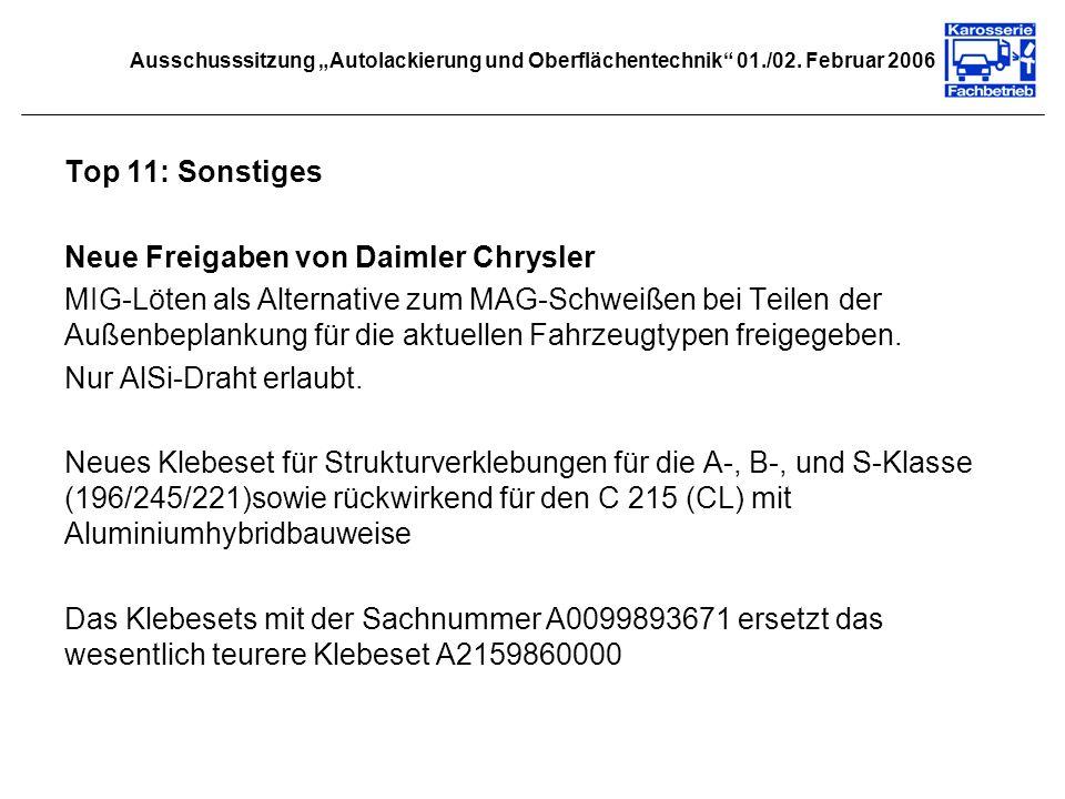 Neue Freigaben von Daimler Chrysler