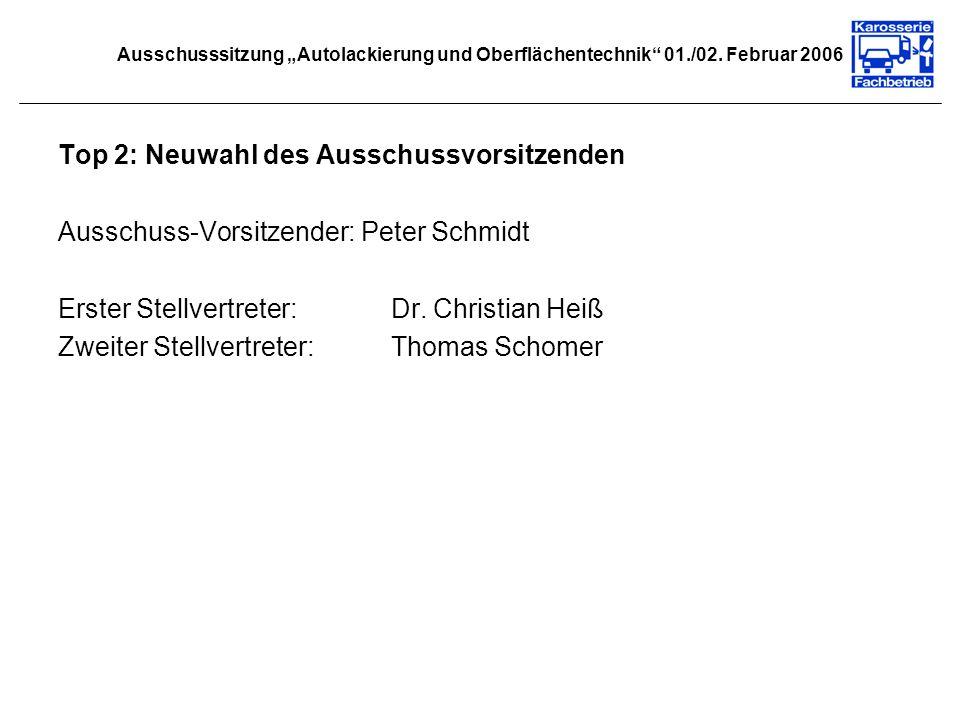 Top 2: Neuwahl des Ausschussvorsitzenden