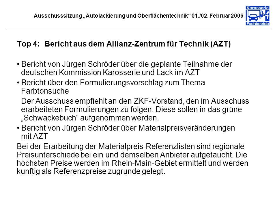 Top 4: Bericht aus dem Allianz-Zentrum für Technik (AZT)