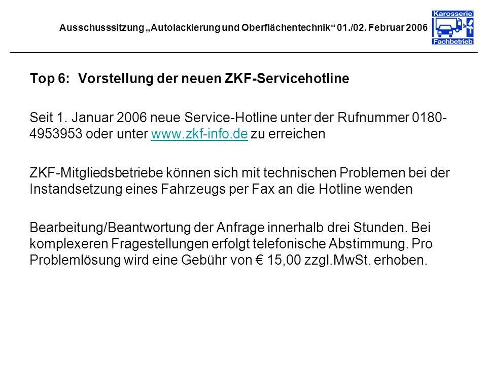 Top 6: Vorstellung der neuen ZKF-Servicehotline