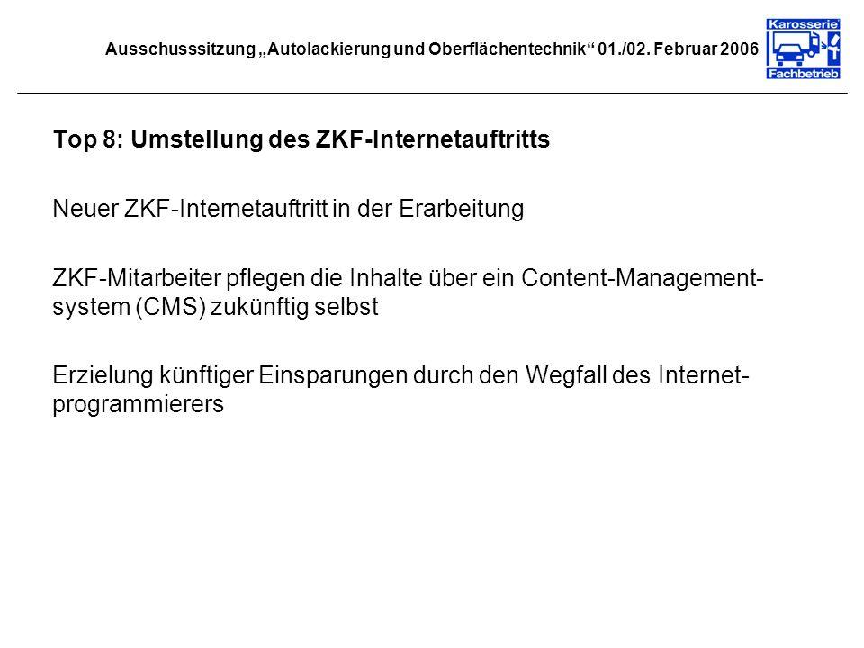 Top 8: Umstellung des ZKF-Internetauftritts