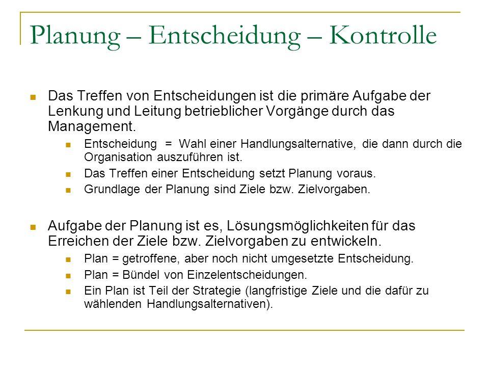 Planung – Entscheidung – Kontrolle