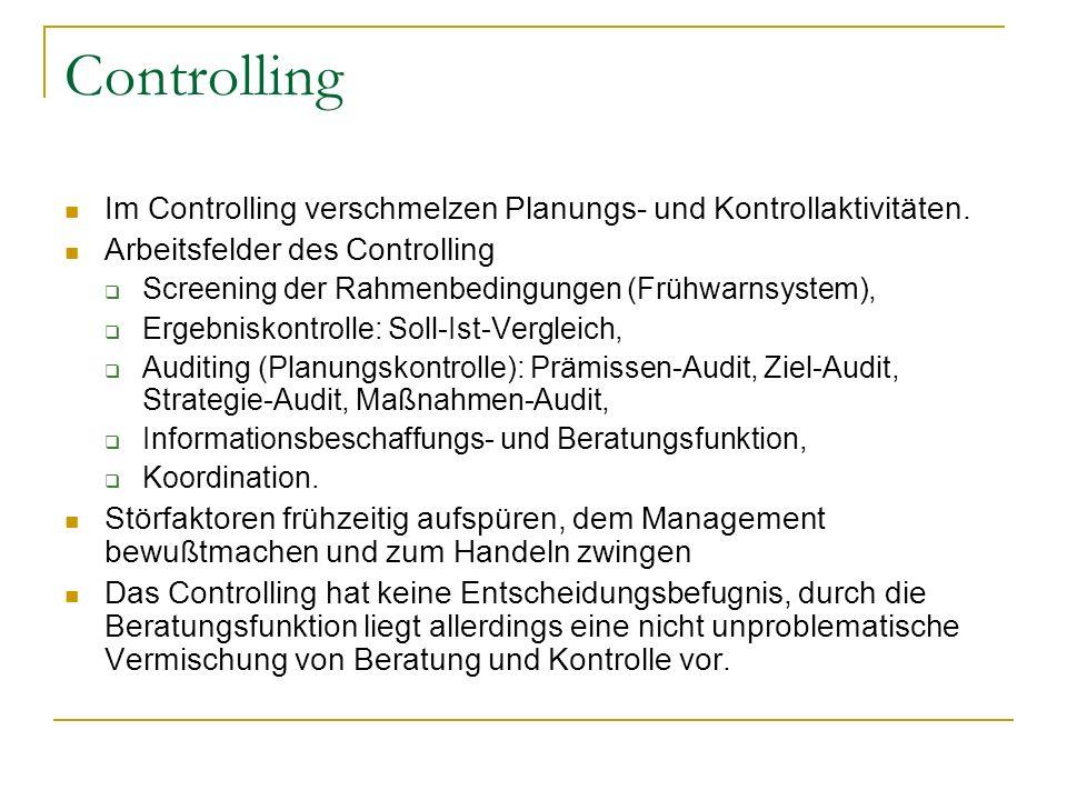 Controlling Im Controlling verschmelzen Planungs- und Kontrollaktivitäten. Arbeitsfelder des Controlling.