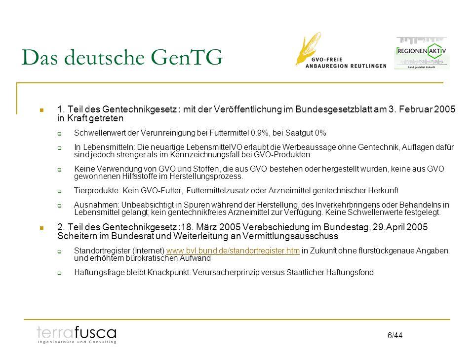 Das deutsche GenTG 1. Teil des Gentechnikgesetz : mit der Veröffentlichung im Bundesgesetzblatt am 3. Februar 2005 in Kraft getreten.