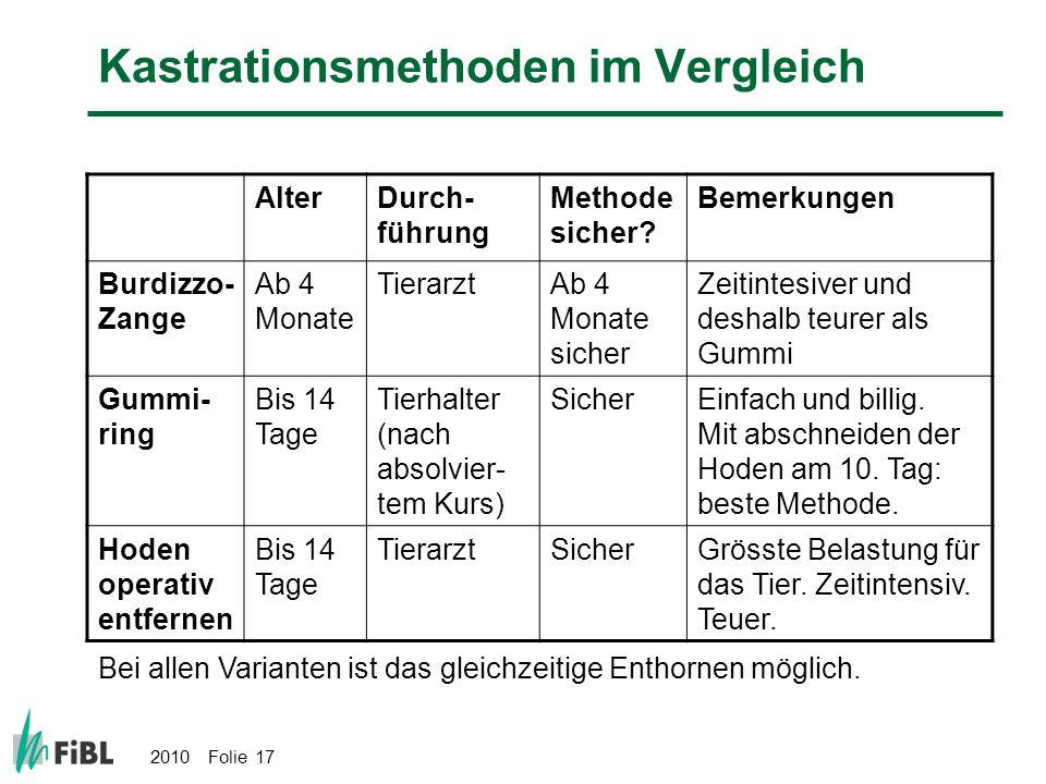 Kastrationsmethoden im Vergleich