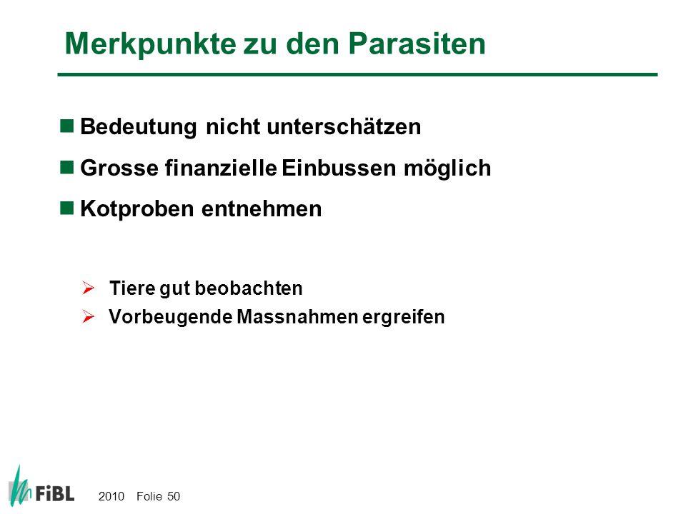 Merkpunkte zu den Parasiten