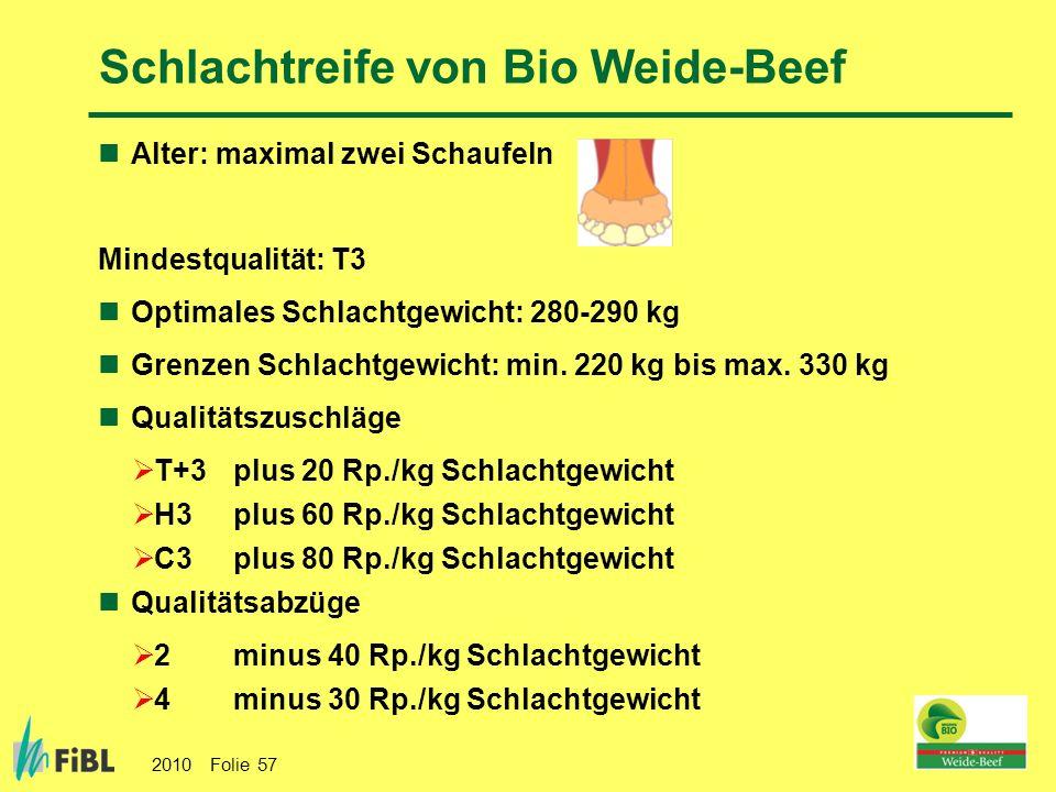 Schlachtreife von Bio Weide-Beef