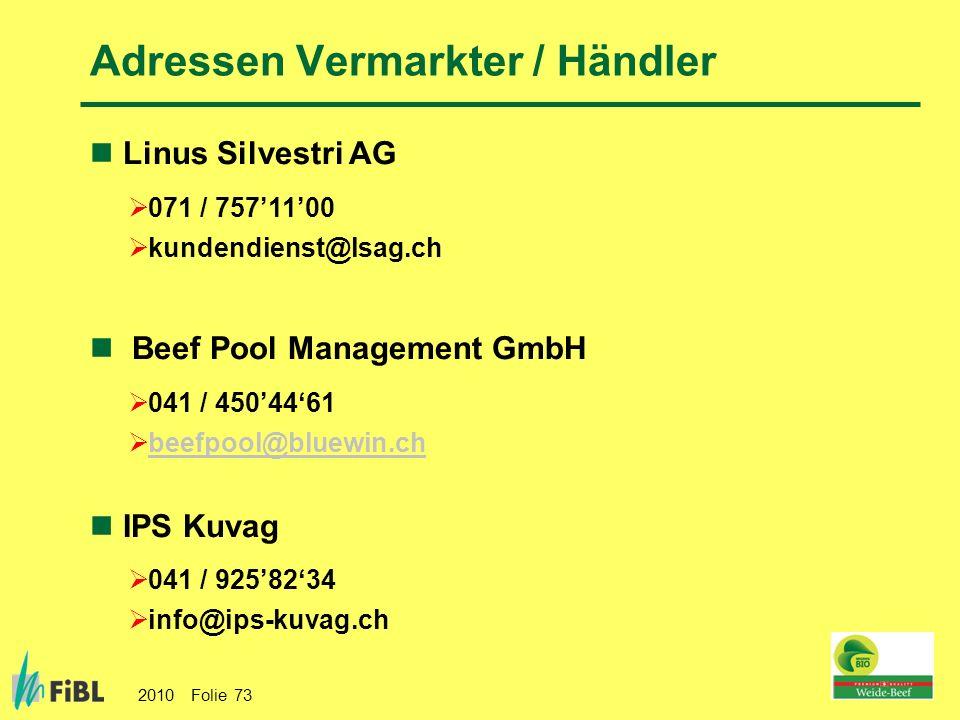 Adressen Vermarkter / Händler