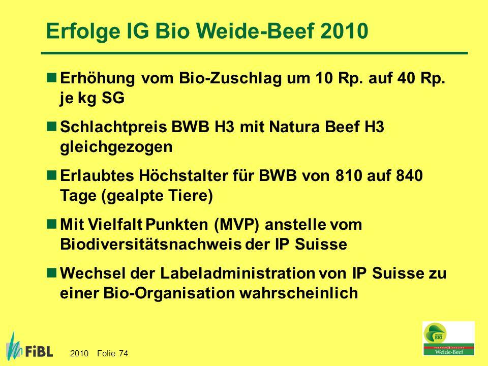 Erfolge IG Bio Weide-Beef 2010