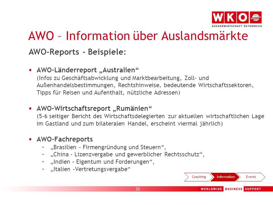AWO – Information über Auslandsmärkte