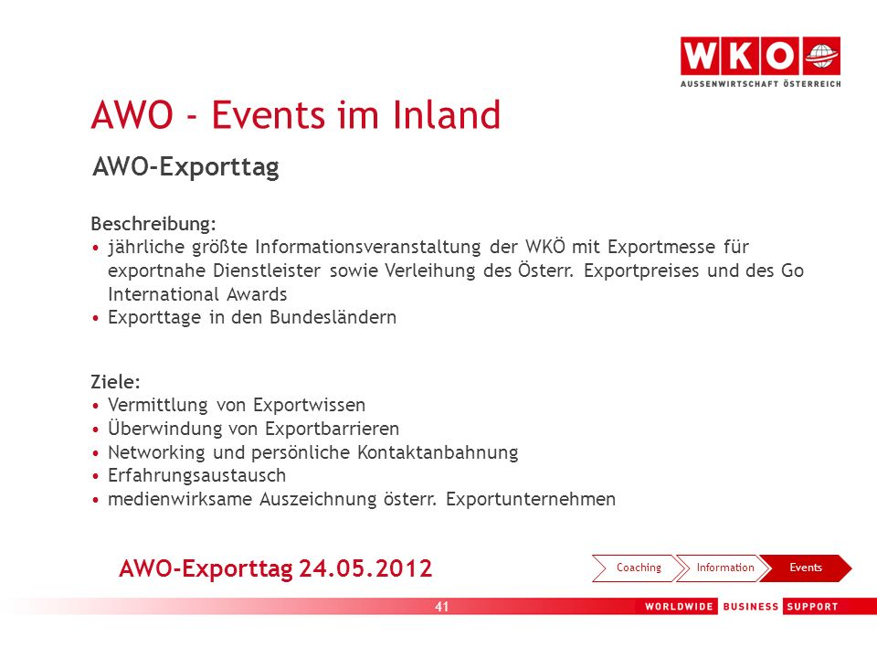AWO - Events im Inland AWO-Exporttag AWO-Exporttag 24.05.2012