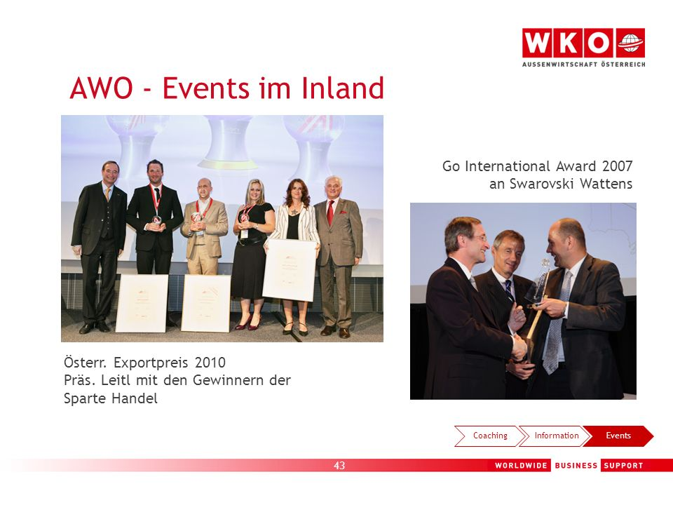 AWO - Events im Inland AWO-Exporttag Go International Award 2007