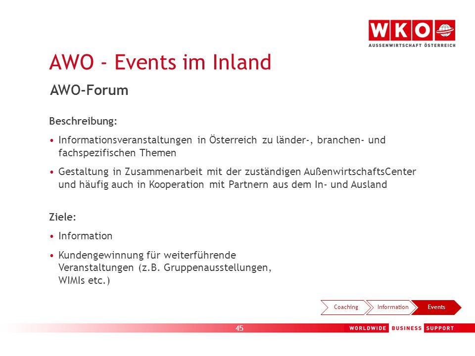 AWO - Events im Inland AWO-Forum Beispiele: Beschreibung: